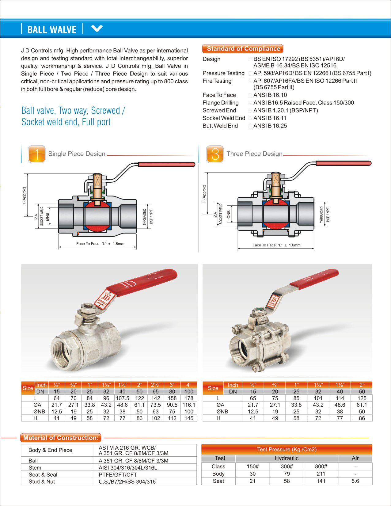 BALL VALVE SPECIFICATION PDF